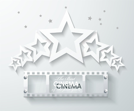 cinema strip: Cinema banner with white paper stars and film tape. Vector cinema background.