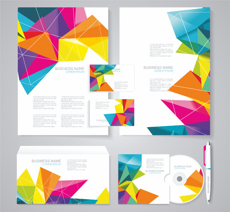 documentation: Corporate identity template with blue and green geometric elements. Documentation for business.