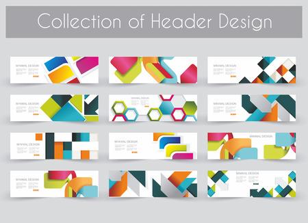 threefold: Mega pac kHeader design template set Illustration