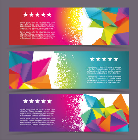 futuristic background: Set of modern vector banners with polygonal background