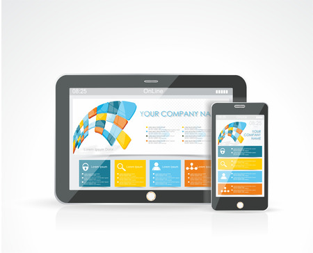 mobile application: Smartphone and a Tablet PC with a responsive design website, vector illustration. Illustration