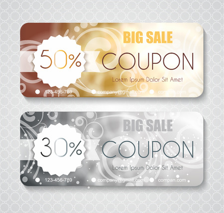 bonds: Discount coupon template with premium pattern on silver and gold background Illustration