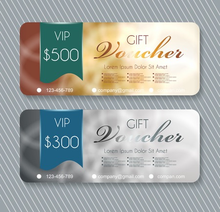 burgundy ribbon: Voucher template with premium pattern on silver and gold background