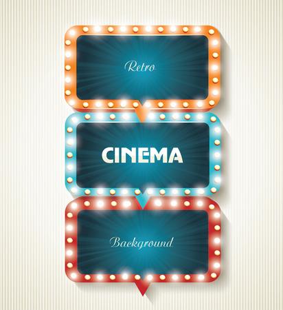 emulsion: Cinema banners with light bulbs. Vector cinema background.