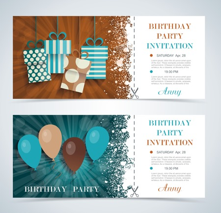 hangings: Complimentary ticket to a party on  birthday, various vector design. Illustration