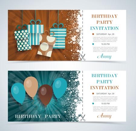 feestelijk: Gratis ticket naar een feest op de verjaardag, Vaus vector ontwerp.