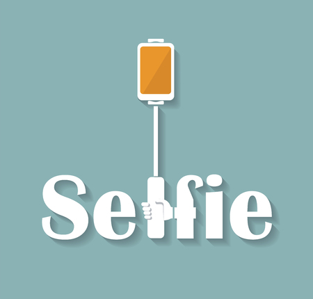 phone hand: Taking Selfie Photo on Smart Phone, hand hold monopod with mobile phone, concept icon.