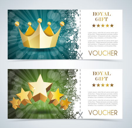 coronation: Voucher premium template with gold crown and gold stars. Illustration