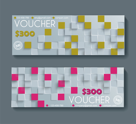 gift pattern: Gift voucher template with retro geometric pattern