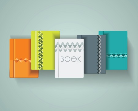 books library: Set of books cover design, vector illustration