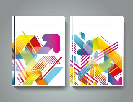 magazine cover: Magazine cover with pattern of geometric shapes, texture with flow of spectrum effect.