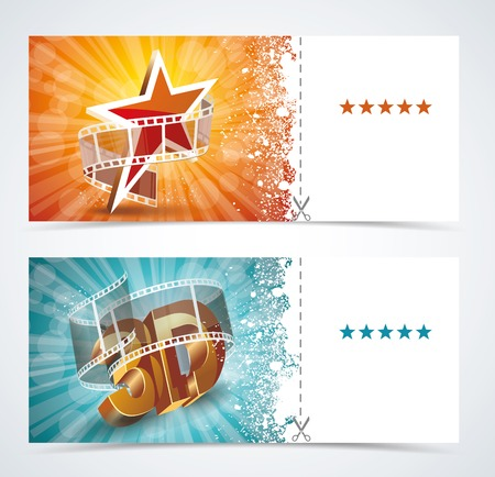 filmstrip: Realistic cinema movie poster, event card template. Vector.