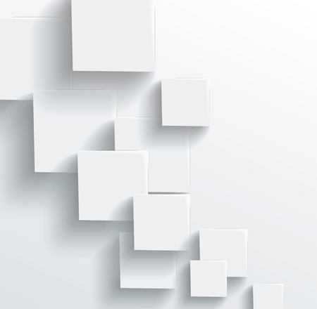 회색 큐브에서 벡터 추상적 인 기하학적 모양입니다. 흰색 사각형 일러스트
