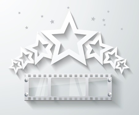 emulsion: Cinema banner with white paper stars and film tape. Vector cinema background.