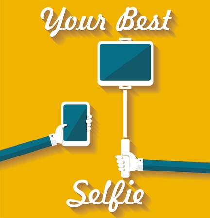 tablet pc in hand: Taking Selfie Photo on Smart Phone, hand hold monopod with tablet pc, concept icon.