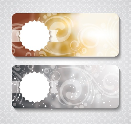 engravings: Discount coupon template with premium pattern on silver and gold background Illustration