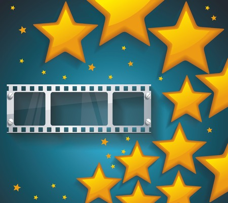 cinema strip: Old Cinema banner with gold stars and film tape. Vector cinema background.