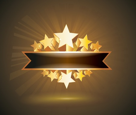 gold stars: Vector label sign with gold stars and place for your text Illustration