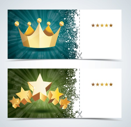 engravings: Voucher premium template with gold crown and gold stars. Illustration