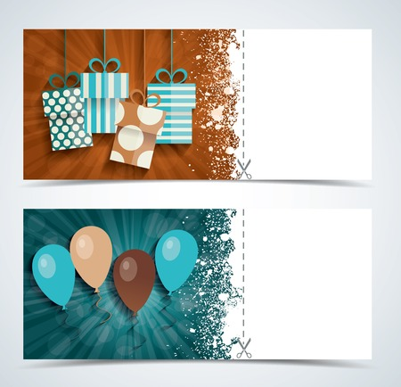 complimentary: Complimentary ticket to a party on birthday, various vector design. Illustration