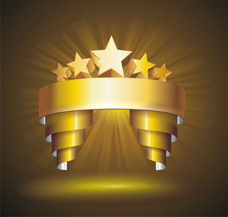 gold stars: Beautiful vector label sign with stars and gold ribbon