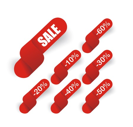 reduced value: Hot deal red 3d realistic paper sale tags isolated on white