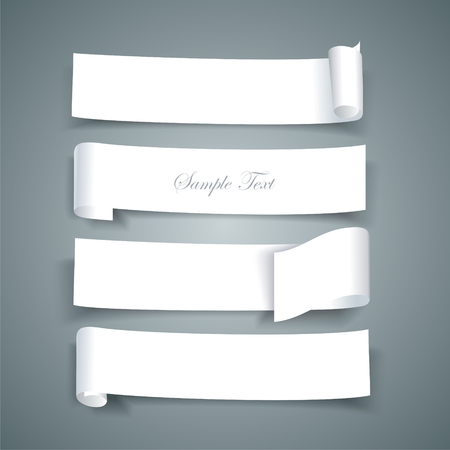 paper mache: White paper roll ripped design collections, vector banners, paper ribbons
