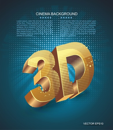 filmroll: Illustration of 3D word in golden glass on dark blue background