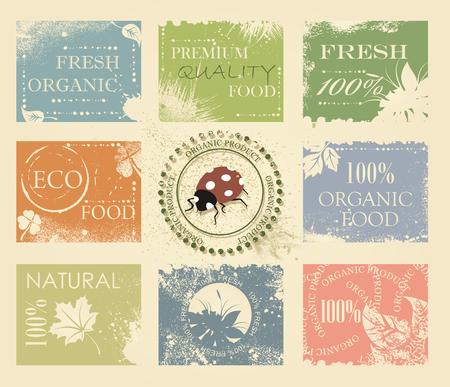global village: BIO, ECO, ORGANIC Labels Collection. Natural product sign set, vintage design.