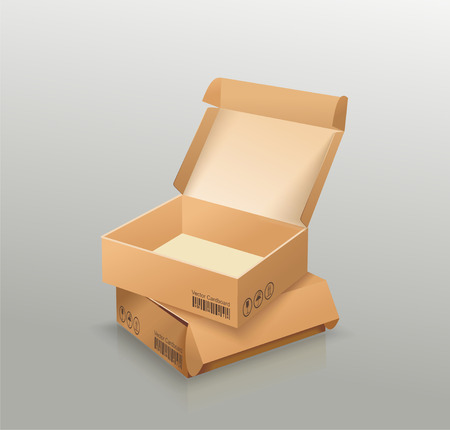 Opened and closed empty cardboard box, recycle brown box packaging.  Vector illustration Ilustração