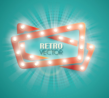 emulsion: Old Cinema banner with light bulbs. Vector cinema background.