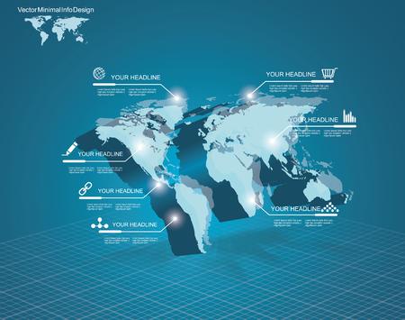 3D-vector Light World kaart met de pointer marks - communicatieconcept en infographics ontwerpsjabloon Stock Illustratie