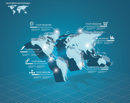 3d vector Light World map with pointer marks - communication concept and infographics design template Illustration
