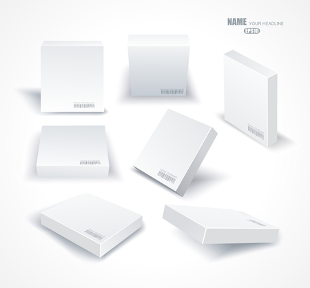 ebox: Set blank white boxes in different planes with shadows isolated on white.