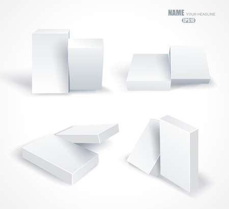 ebox: Set blank white boxes in different planes with shadows isolated on white Illustration