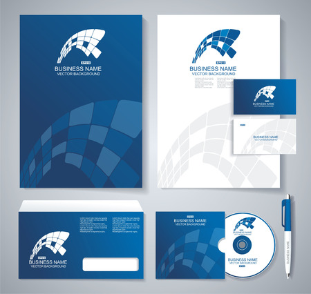 corporate identity template: Classic stationery template design. Blue corporate identity template. company style for brandbook and guideline.
