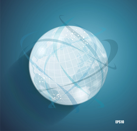 Abstract globe symbol with smooth shadows and  map of the continents of the world, isolated icon, internet and social network concept