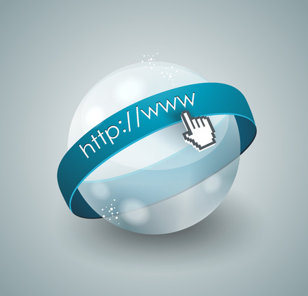 mouse cursor: 3d illustration of abstract glass globe and mouse cursor Illustration