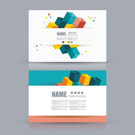 namecard: Isometric Business cards Design. Business cards with abstract background. Vector Template layout.