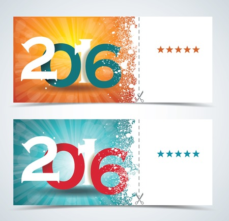 complimentary: Complimentary ticket to a Christmas and New Year party, various vector design.
