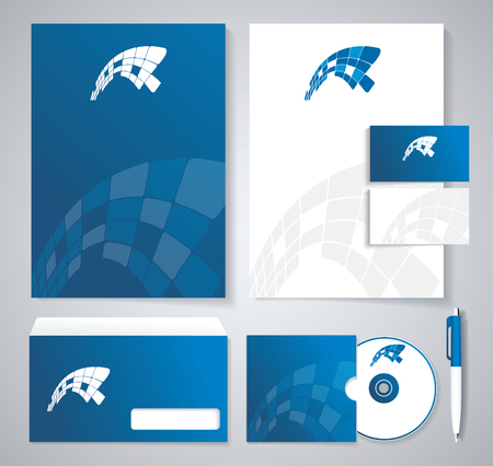 guideline: Classic stationery template design. Blue corporate identity template. Vector company style for brandbook and guideline.