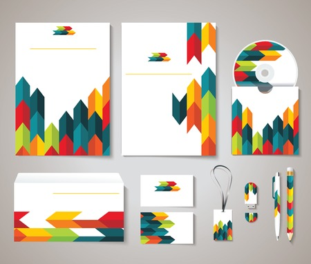 identity: Corporate identity templates with abstract design: blank, business cards, disk, envelope, pen, pencil, badge. Isolated items with soft shadows.