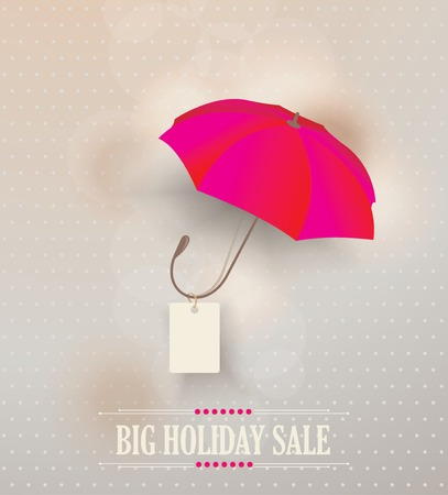 personal shopper: Sale poster with classic elegant opened red umbrella, vector illustration Illustration