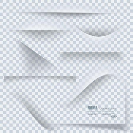 Set van transparante realistische papier schaduweffecten op blanco vel papier. Elementen voor uw ontwerp. Stock Illustratie