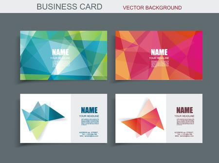 lineas horizontales: plantilla de tarjeta de visita moderna con formas de colores de cristal 3d facetas.