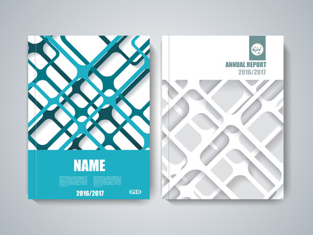 Brochure title sheet, polygonal stripe construction, spider web weave design.