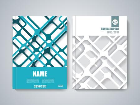 folder: Brochure title sheet, polygonal stripe construction, spider web weave design.