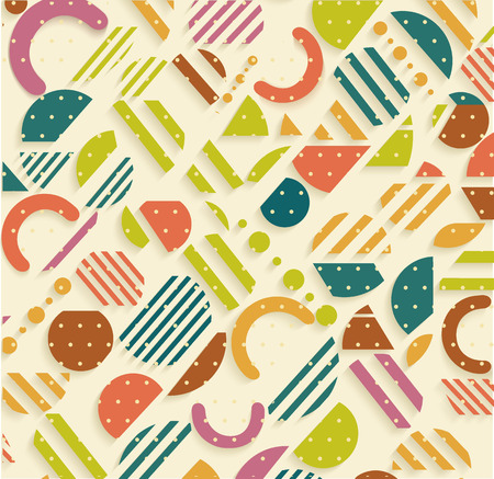 '80s: Vintage geometric pattern in retro 80s style, memphis. Can be use for paper, fabric and textile print.