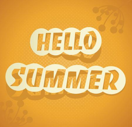 summer fun: Hello Summer. Vector summer background. Hand lettering summer typography poster.