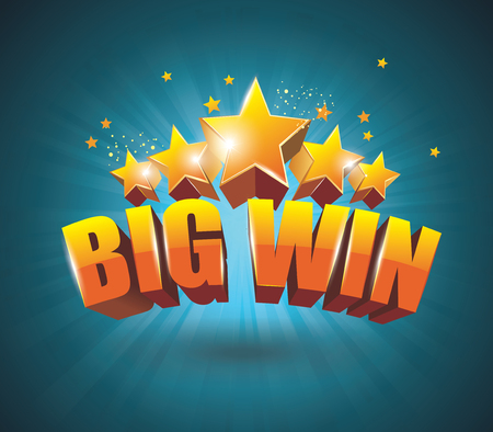 win: Big Win gold sign for online casino, poker, roulette, slot machines, card games. Vector design template. Illustration